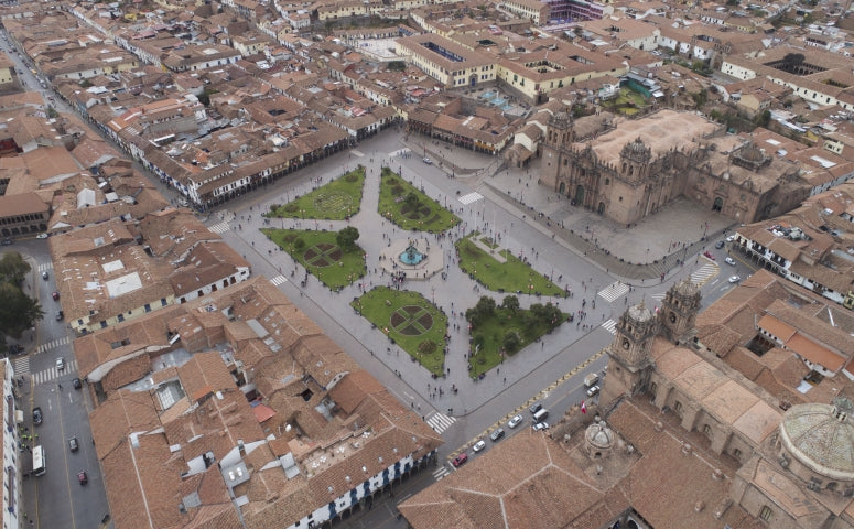 Cusco city view from the drone during the day