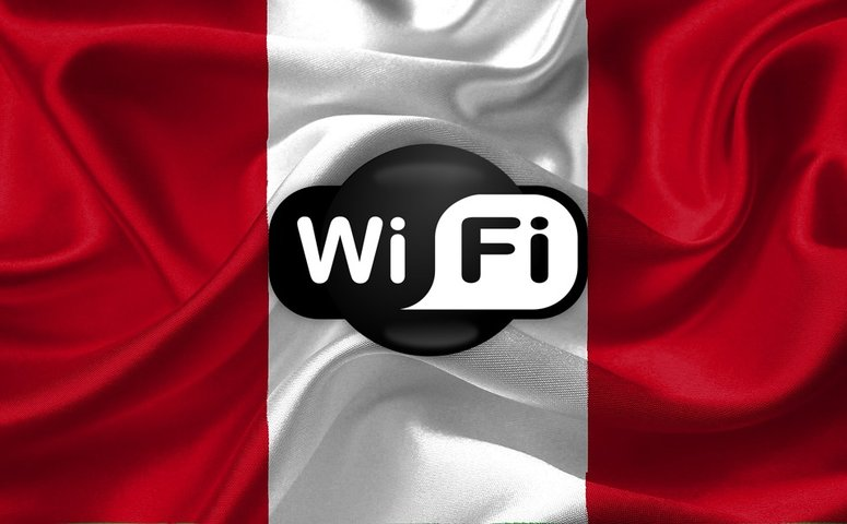 Peruvian flag with wifi sign on it