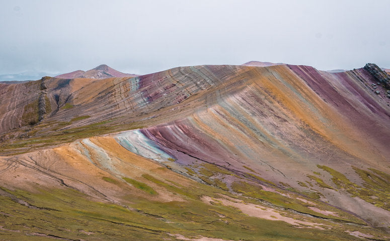 Rainbow Mountain Palccoyo view at colorful mountains without people around