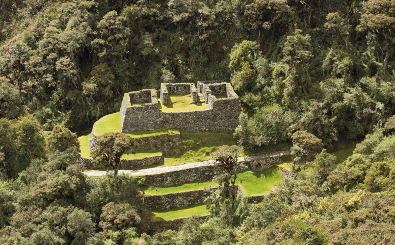 View from the Drone at a ancient Inca ruin in the jungle