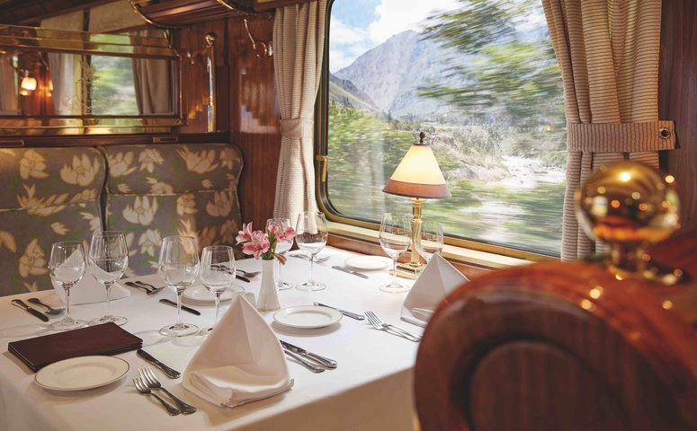 Belmond Hiram Bingham train to Machu Picchu from inside