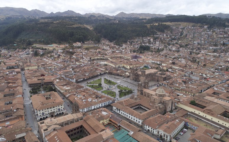 View from above on the main square of Cusco