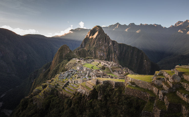 Ruins of Machu Picchu view over the whole area and in the background is the huge huayna picchu mountain