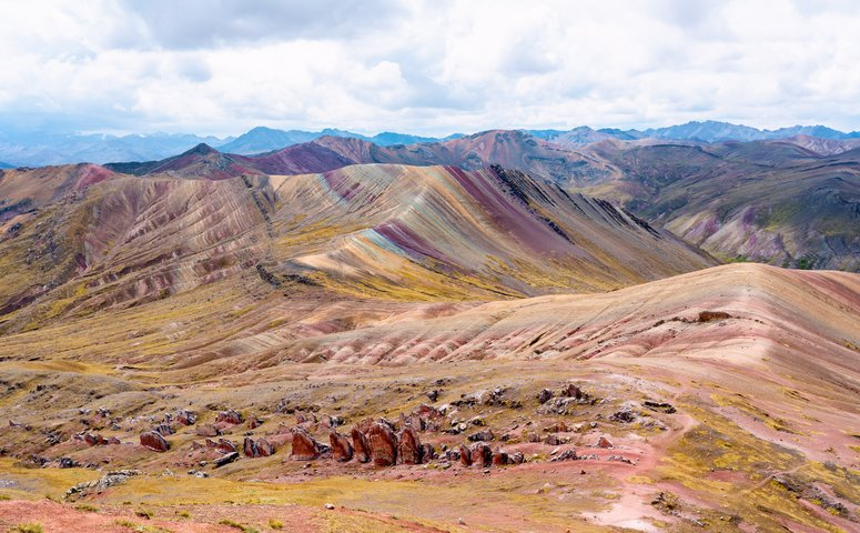 colorful rainbow mountains and no one around