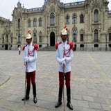 Guards at government palace in Lima's city center