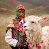Local kid with llama at Palccoyo Rainbow Mountain