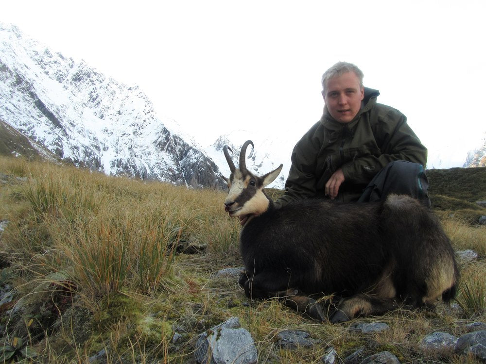 Luke potts with his chamois buck