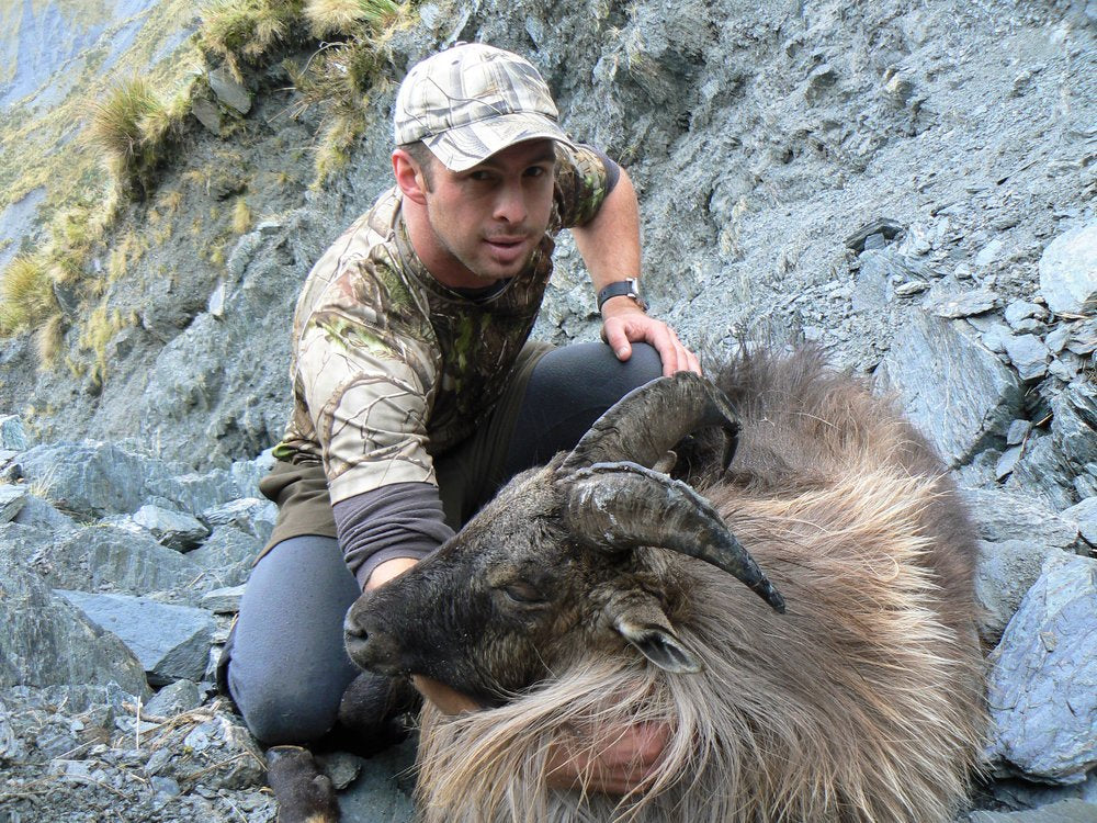 Tom Overton with his bull tahr