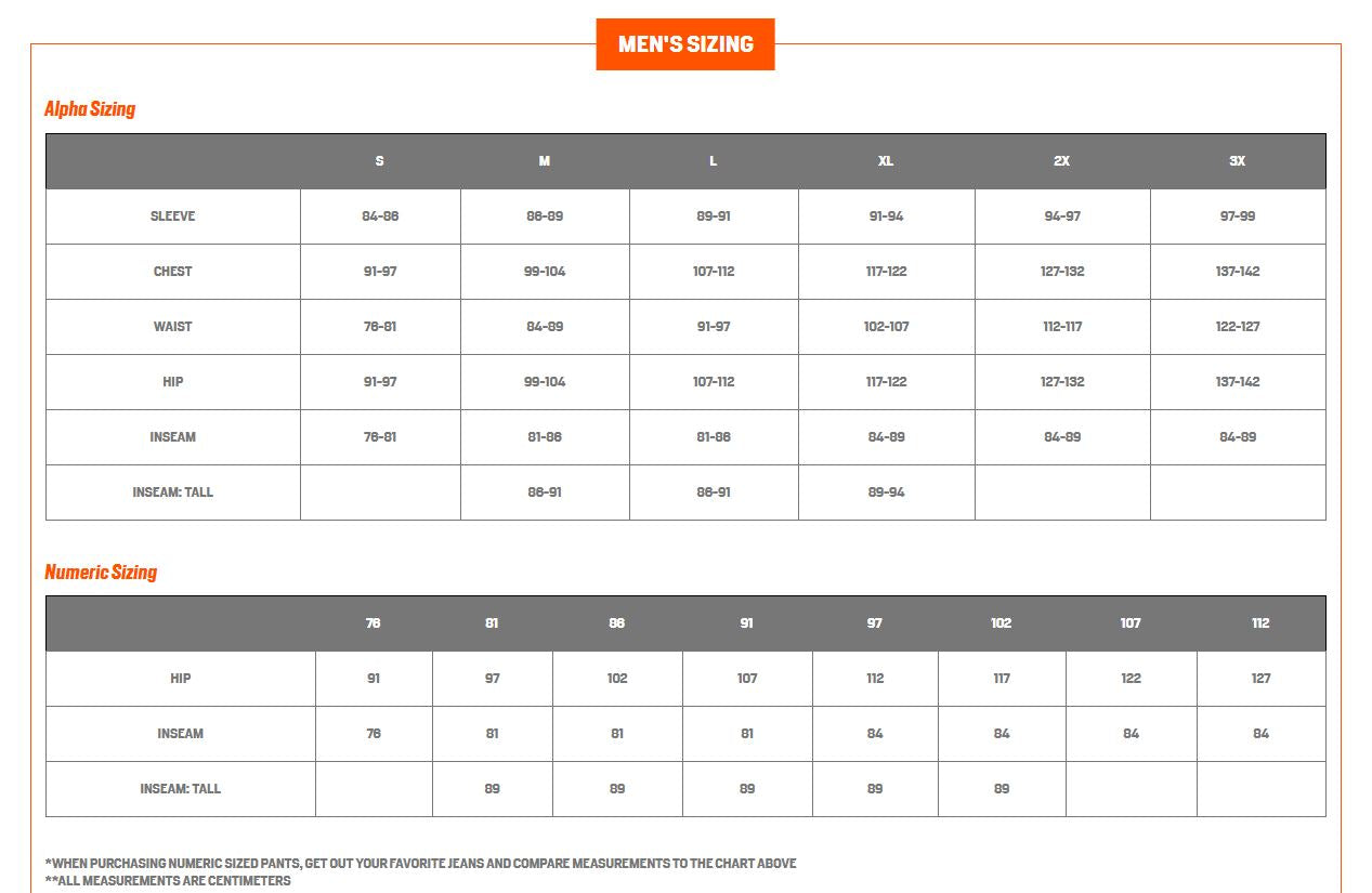 First Lite Sizing Chart 1