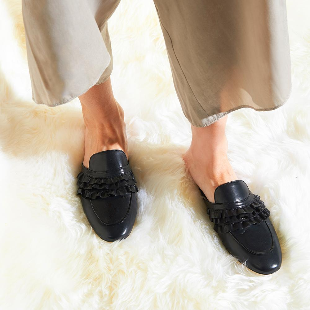 a64362b3199 ... Aerial View · Daniella Shevel Women s Black Leather Slipper Flat with  Ruffles on Woman ...