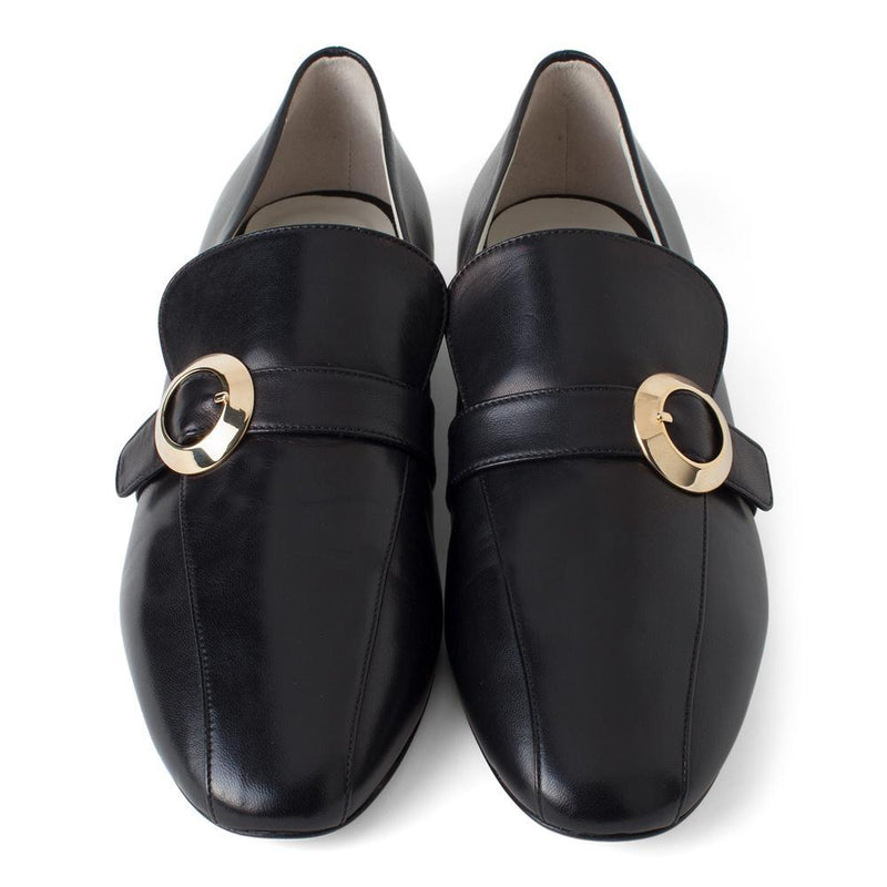 Daniella Shevel Women's Black Leather Loafer with Gold Buckle Accessory Aerial View