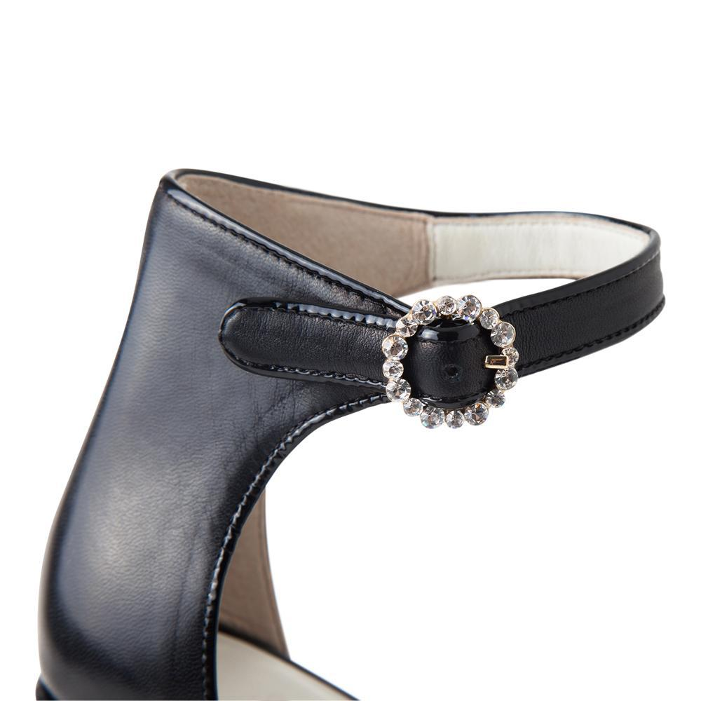 51b89eb80c4 ... Daniella Shevel Women s Black Patent Leather Pump with Ankle Strap  Detailed Buckle View ...
