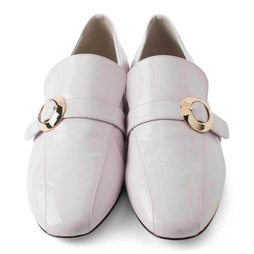 49229f4c742 ... Daniella Shevel Women s Pink Leather Loafer with Gold Buckle Accessory  Aerial View ...