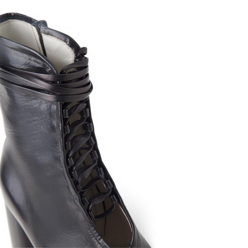 Daniella Shevel BellaDonna Black Leather Boot with Heel and Black Laces Aerial View