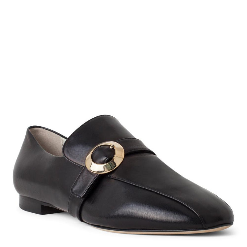 Daniella Shevel Women's Black Leather Loafer with Gold Buckle Accessory