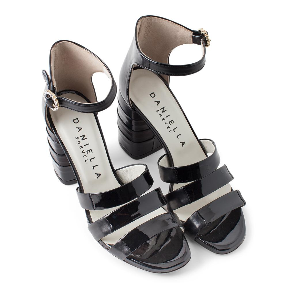 5f4a14b083f ... Buckle View  Daniella Shevel Women s Black Patent Leather Pump with  Ankle Strap Aerial View ...