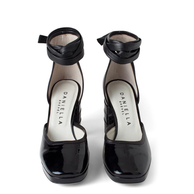 Daniella Shevel Women's Square Toe Pump in Black Leather with Leather Ankle Strap Aerial View