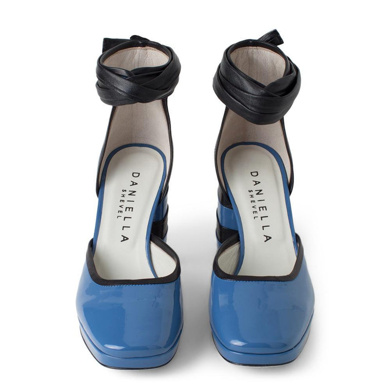 Daniella Shevel Women's Square Toe Pump in Blue Leather with Leather Ankle Strap Aerial View