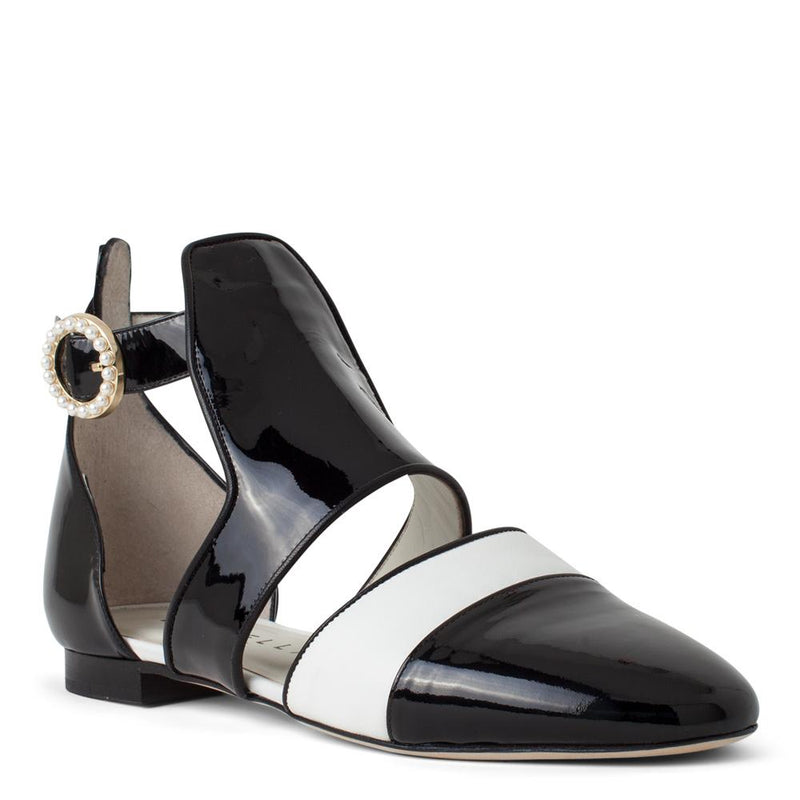 Daniella Shevel Women's Sandal in Black and White Patent Leather with Pearl Accents Front View