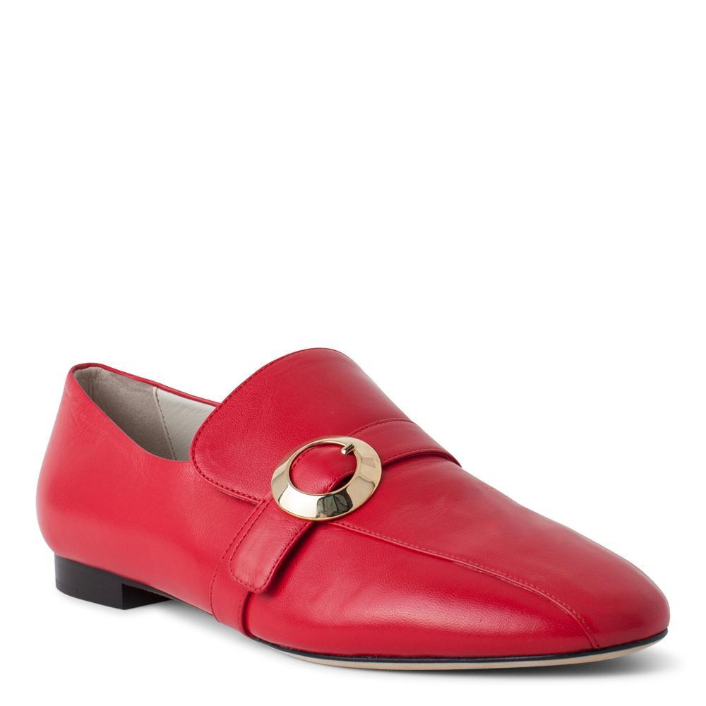 679cb8b67eb ... Aerial View · Daniella Shevel Women s Red Leather Loafer with Gold  Buckle Accessory ...
