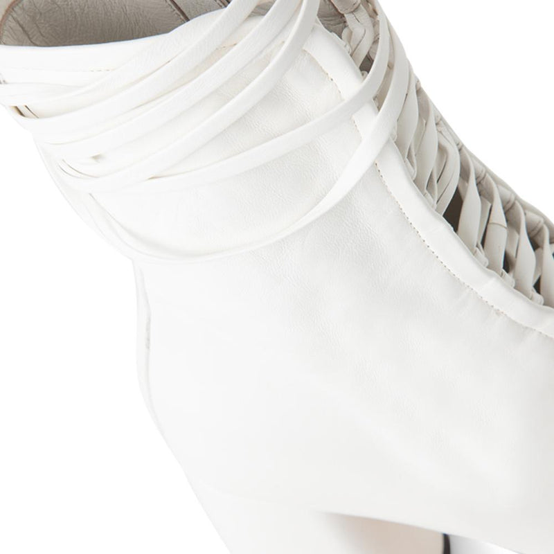 Daniella Shevel BellaDonna White Leather Boot with Heel and White Laces Close-Up View