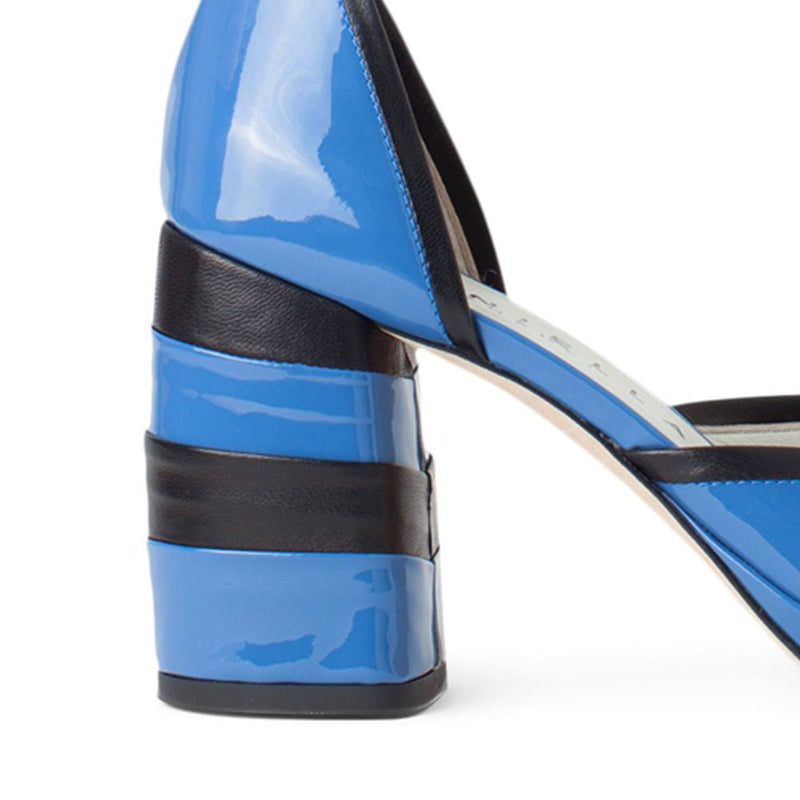 Daniella Shevel Women's Square Toe Pump in Blue Leather with Leather Ankle Strap Detail View