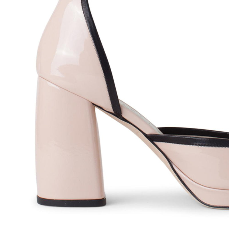 Daniella Shevel Women's Square Toe Pump in Nude Leather with Leather Ankle Strap Detail View