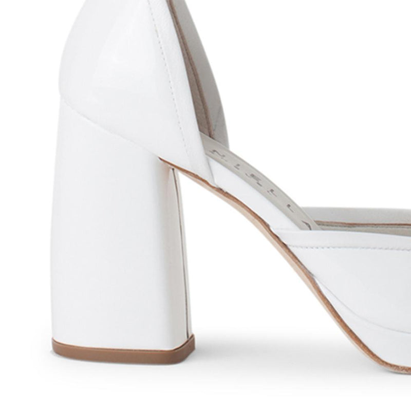 Daniella Shevel Women's Square Toe Pump in White Leather with Leather Ankle Strap Detail View