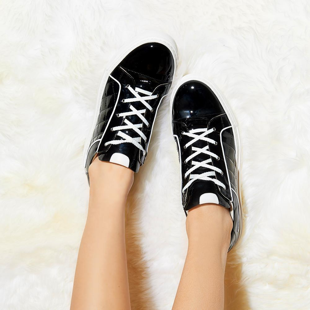 54866d0992d ... Daniella Shevel Black and White Women s Patent Leather Sneaker Aerial  View ...