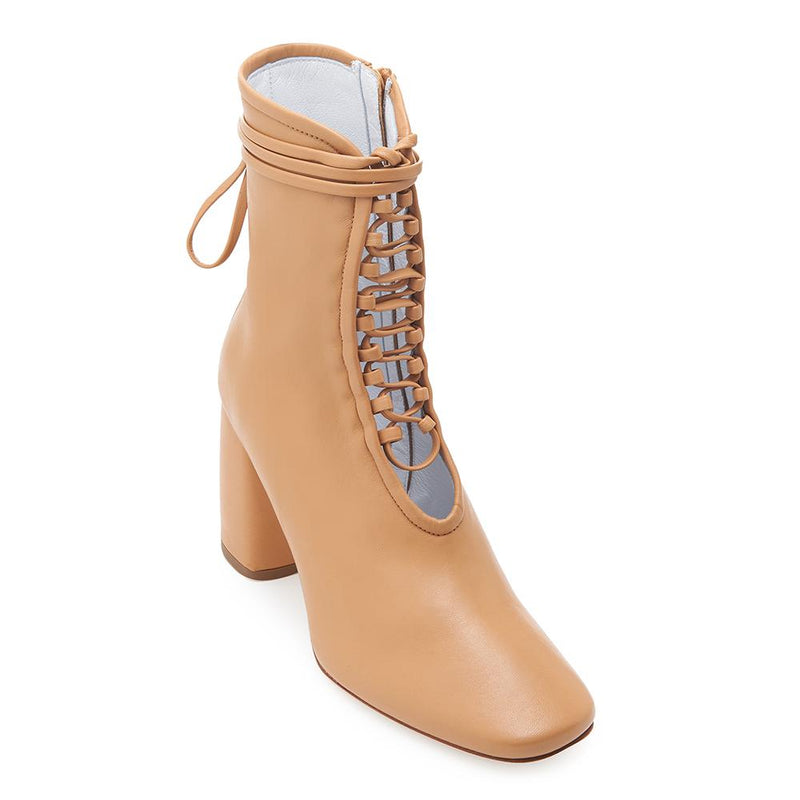 Daniella Shevel BellaDonna Designer Camel Brown Leather Boot with Heel and Laces Front View