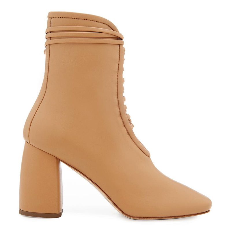Daniella Shevel Designer BellaDonna Camel Brown Leather Boot with Heel and Laces Side View