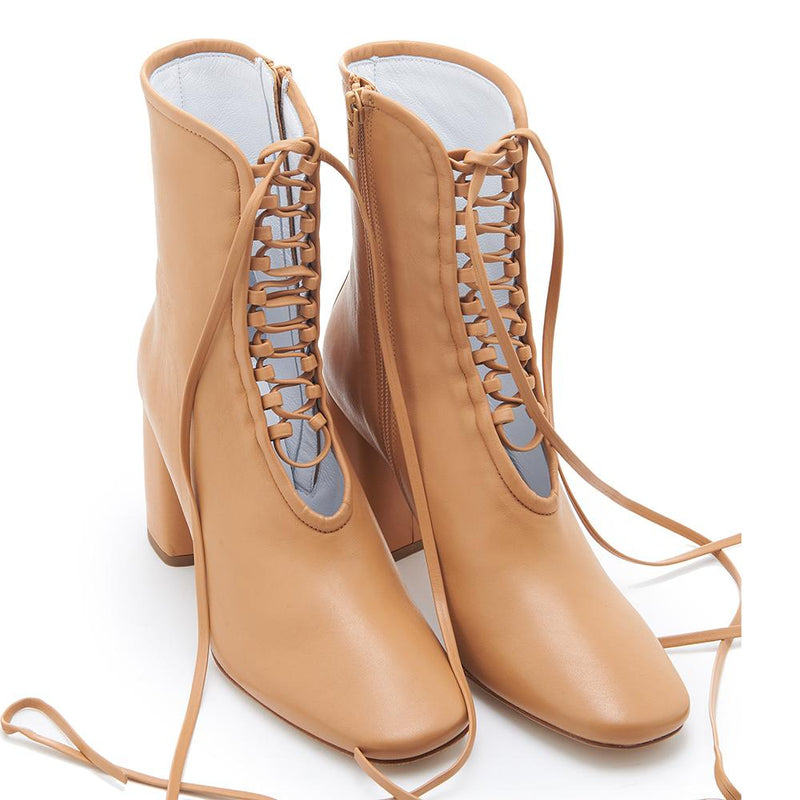 Daniella Shevel BellaDonna Designer Camel Brown Leather Boot with Heel and Laces Full Pair View