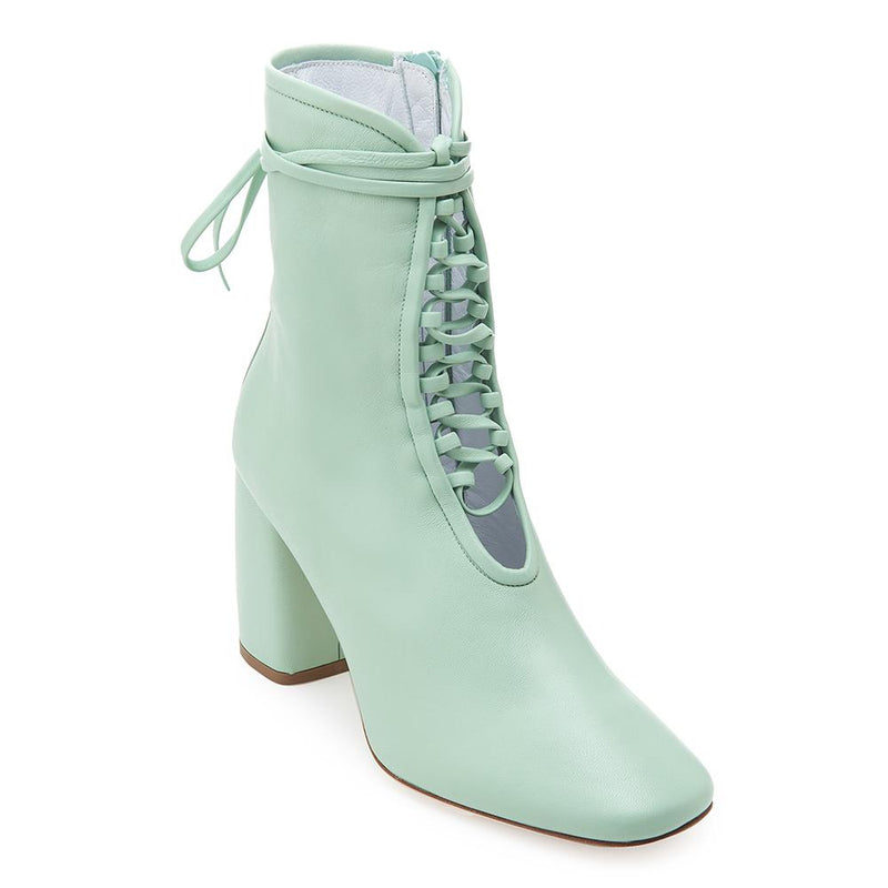 Daniella Shevel BellaDonna Designer Mint Green Leather Boot with Heel and Laces Front View
