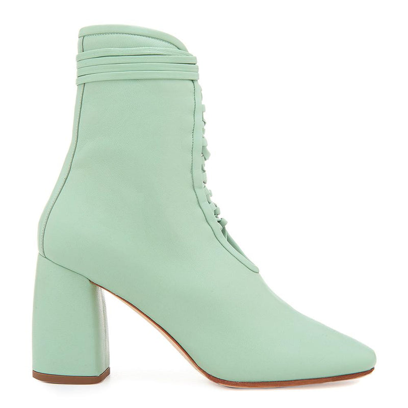 Daniella Shevel Designer BellaDonna Mint Green Leather Boot with Heel and Laces Side View