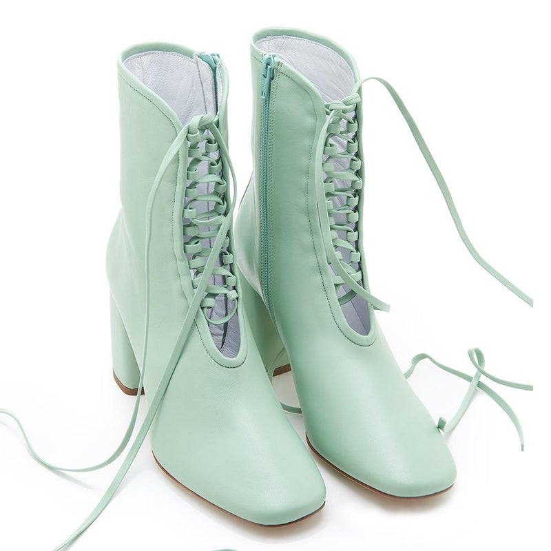 Daniella Shevel BellaDonna Designer Mint Green Leather Boot with Heel and Laces Full Pair View