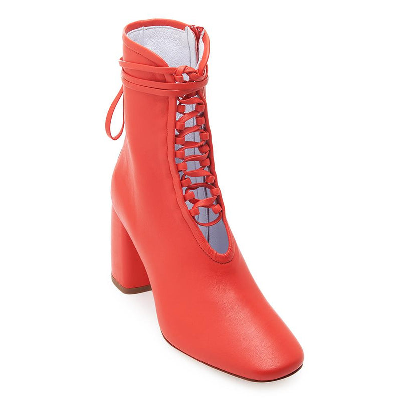 Daniella Shevel BellaDonna Red Leather Boot with Heel and Red Laces Front View