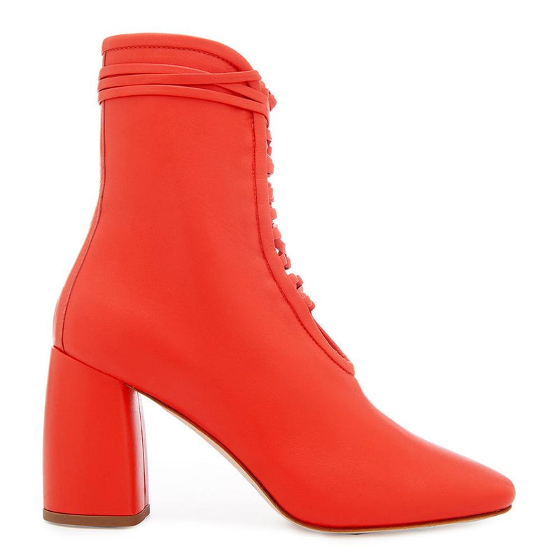 Daniella Shevel BellaDonna Red Leather Boot with Heel and Red Laces Side View