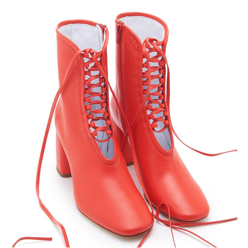 Daniella Shevel BellaDonna Red Leather Boot with Heel and Red Laces Full Pair
