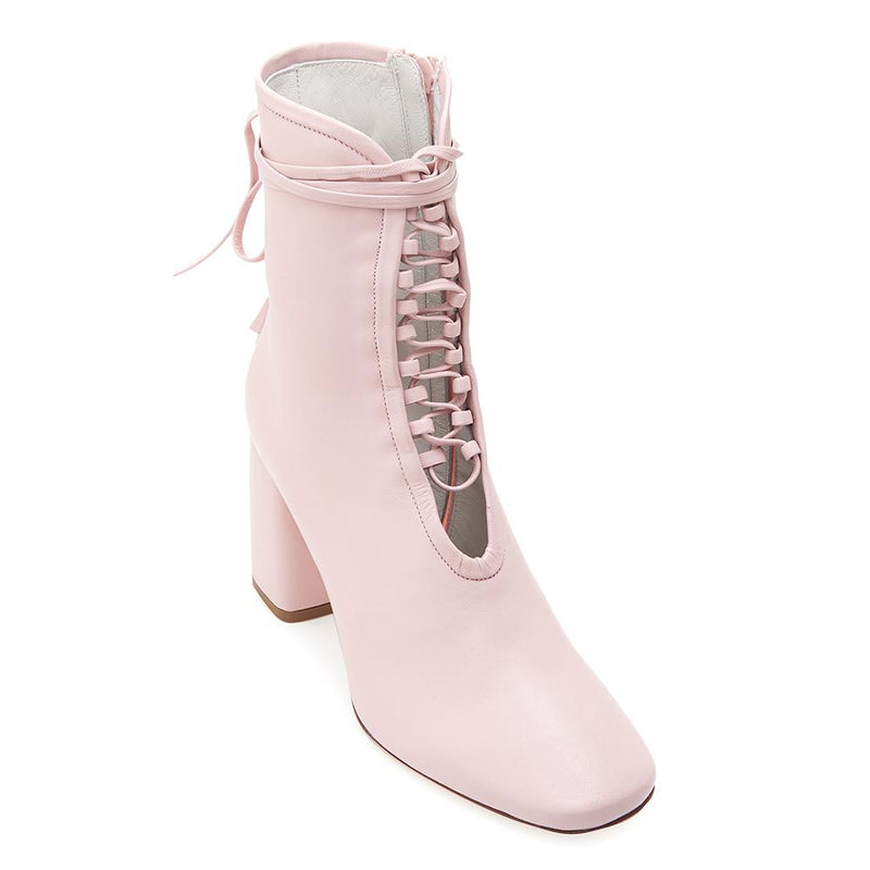 Daniella Shevel BellaDonna Designer Rose Pink Leather Boot with Heel and Laces Front View