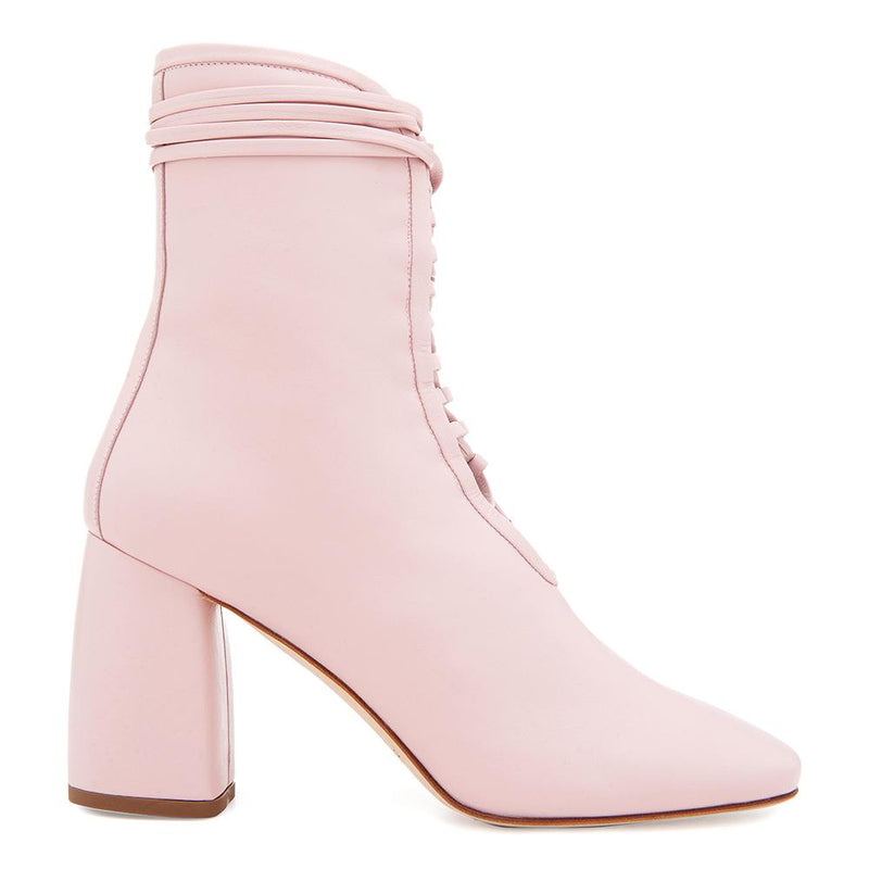 Daniella Shevel Designer BellaDonna Rose Pink Leather Boot with Heel and Laces Side View