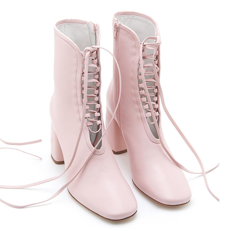 Daniella Shevel BellaDonna Designer Rose Pink Leather Boot with Heel and Laces Full Pair View
