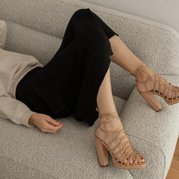 Daniella Shevel designer vegan shoe in nude strappy pump sandal side view