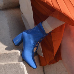 Daniella Shevel BellaDonna Blue Patent Leather Boot with Heel and Blue Laces Side View
