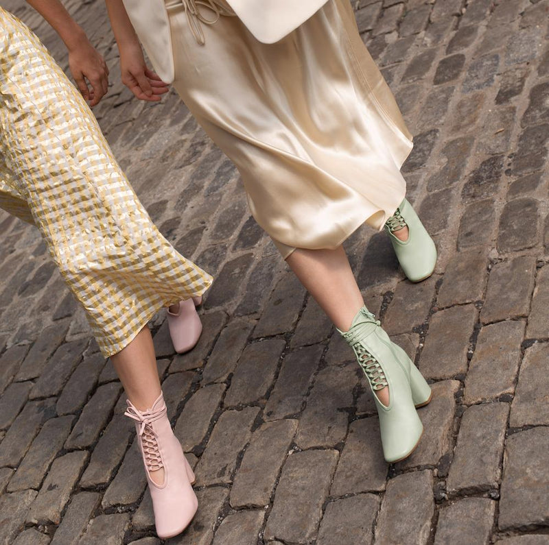 Daniella Shevel BellaDonna Light Pink Leather Boot with Heel and Light Pink Laces on Influencers Walking in Streetstyle