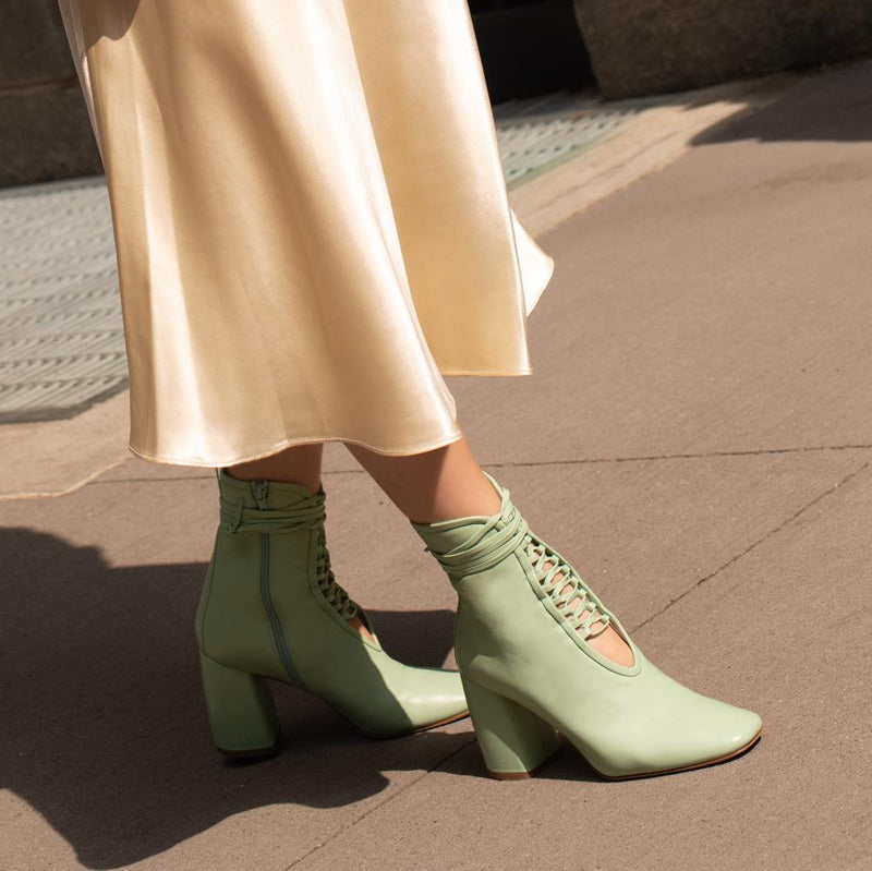 Daniella Shevel BellaDonna Mint Leather Boot with Heel and Mint Laces on Influencer