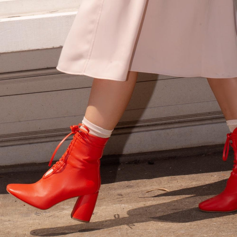 Daniella Shevel BellaDonna Red Leather Designer Boot with Heel and Red Laces on Influencers Walking in Streetstyle