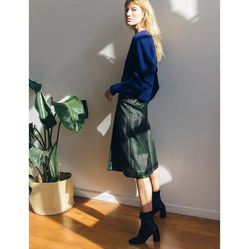 Daniella Shevel BellaMia Black Stretch Boot with Block Heel and Leather skirt with blue sweater