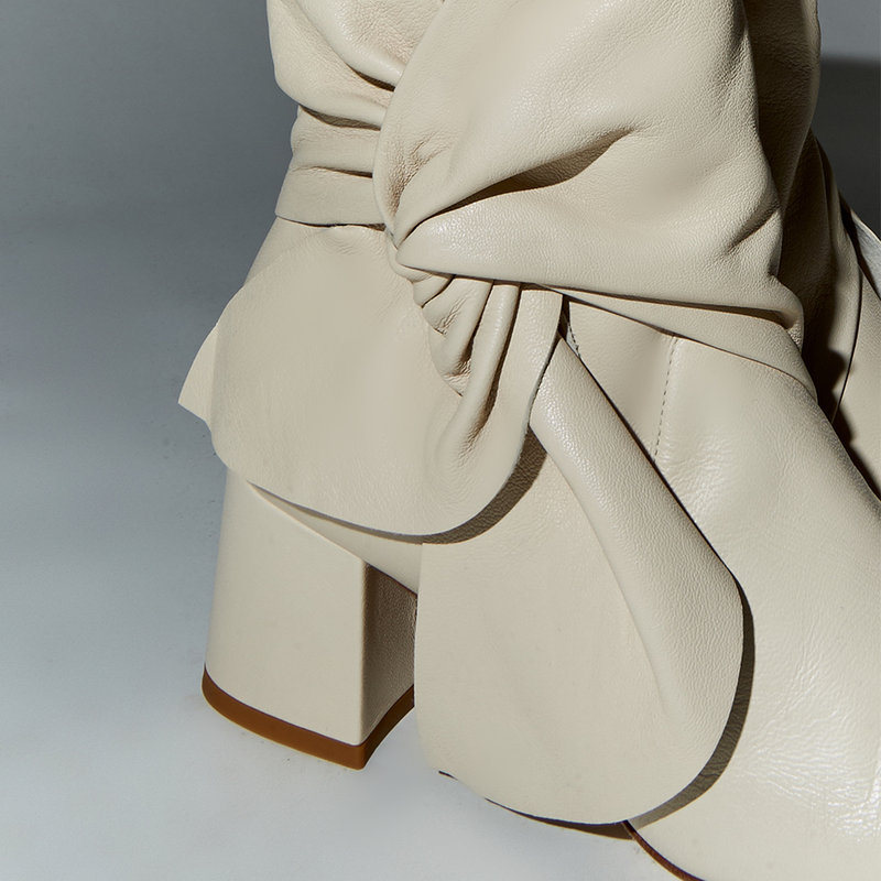 Daniella Shevel Bonnie Bow Tie Bootie detail close up in Stone White Cream