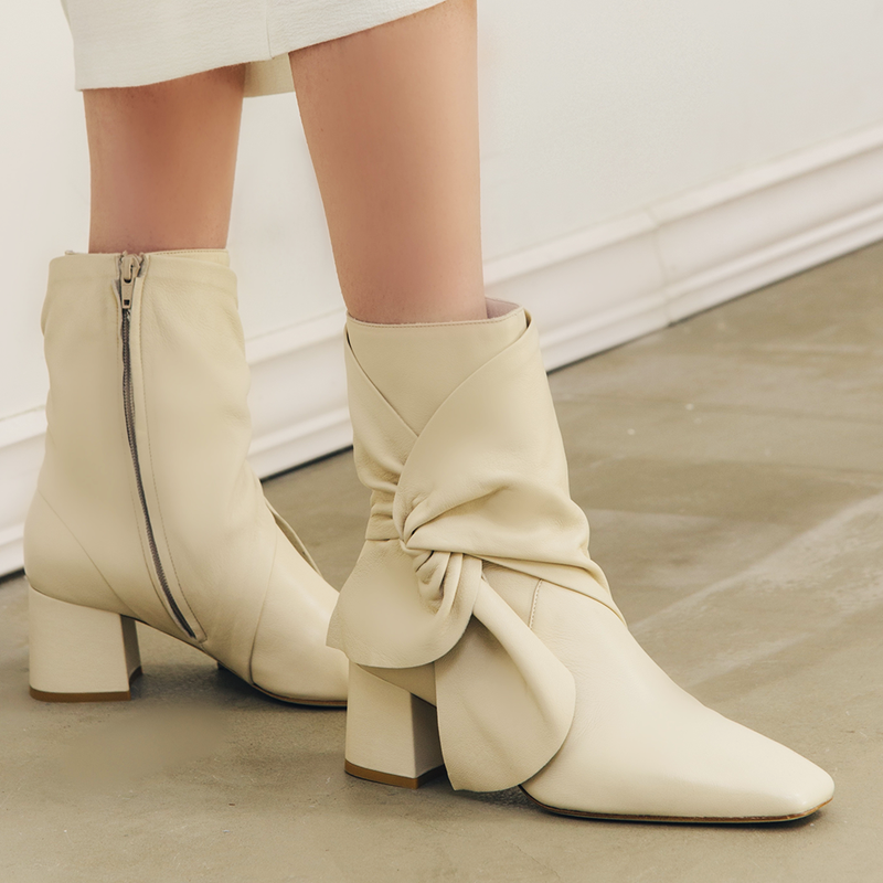 Daniella Shevel Bonnie Bow Tie Bootie  in Stone White Cream with White Skirt