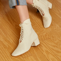 Daniella Shevel Kamari Women's Square Toe Cream Woven Leather Bootie Side View